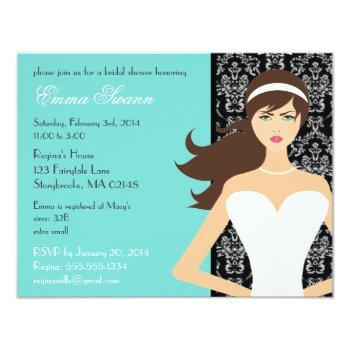 damask tiffany blue bridal shower [brunette bride] invitation
