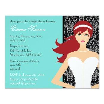 damask tiffany blue bridal shower [redhead bride] invitation