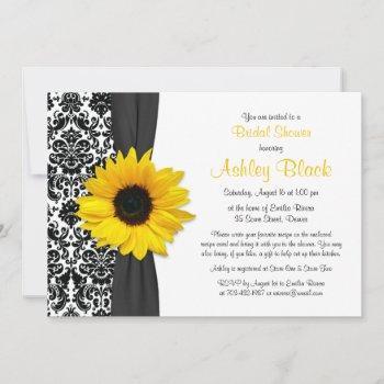 damask yellow sunflower recipe bridal shower invitation