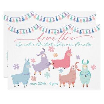 dancing llamas surprise drive by  bridal shower invitation