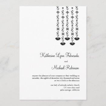 dangling flowers and sparkles wedding invitation