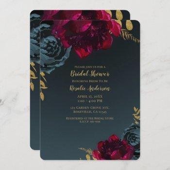 dark blue moody floral gold greenery bridal shower invitation