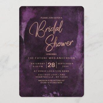 dark purple & rose gold bridal shower invitation