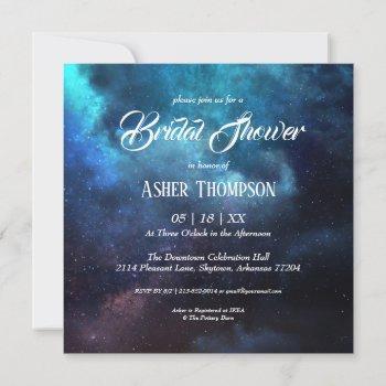 dark starry night blue nebula bridal shower invitation