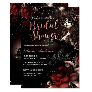 day of the dead skull girl red black bridal shower invitation