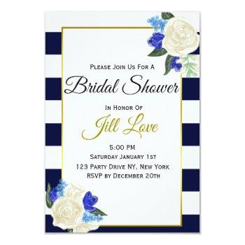 deep blue and gold floral bridal shower invite