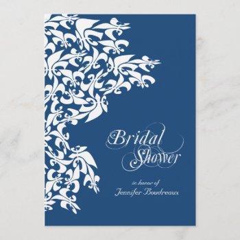 deep blue fancy fleur de lis bridal shower invitation
