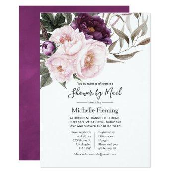 deep velvet floral baby or bridal shower by mail invitation