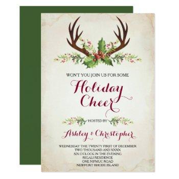 deer antler shower invite - christmas