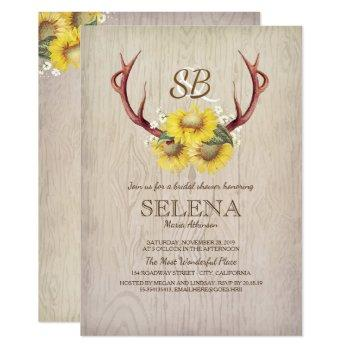 deer antlers and sunflower rustic bridal shower invitation