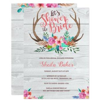 deer antlers bridal shower invitations