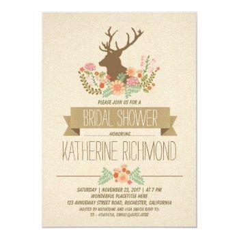 deer antlers romantic rustic bridal shower invite