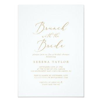 delicate gold brunch with the bride bridal shower invitation
