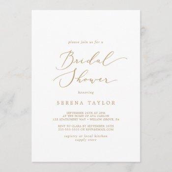 delicate gold calligraphy bridal shower invitation