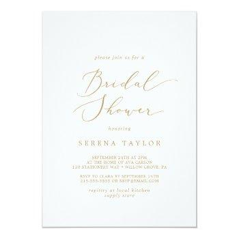 delicate gold calligraphy bridal shower invitation
