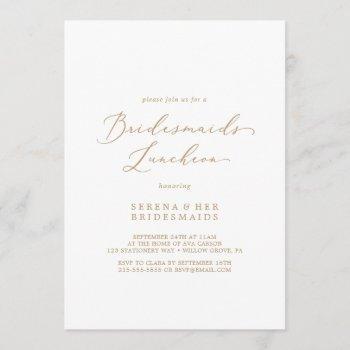 delicate gold calligraphy bridesmaids luncheon invitation