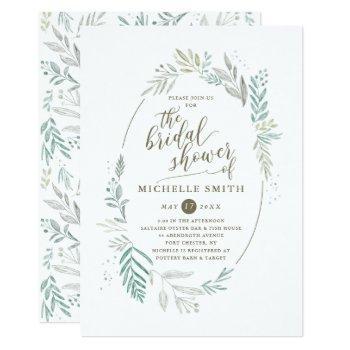 delicate greenery   bridal shower invitation