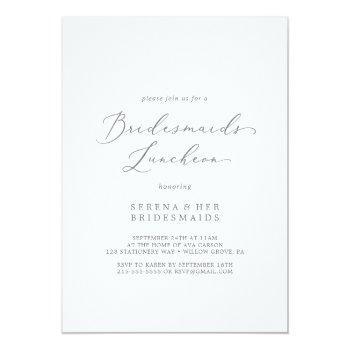 delicate silver calligraphy bridesmaids luncheon invitation