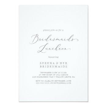 delicate silver calligraphy bridesmaids luncheon invitation