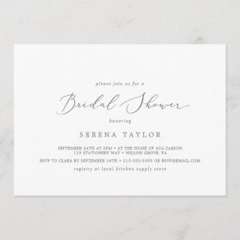 delicate silver horizontal bridal shower invitation