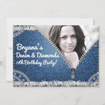 denim & diamonds jean zipper party photo invitatio invitation