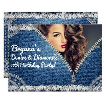 denim & diamonds jean zipper party photo invitation