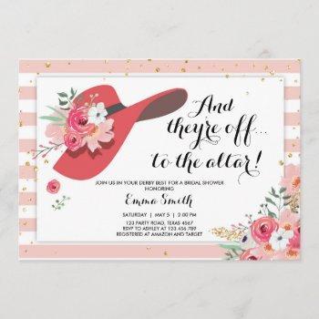 derby wear a hat horse rose gold bridal shower invitation