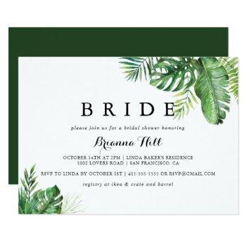 destination tropical greenery bride bridal shower invitation