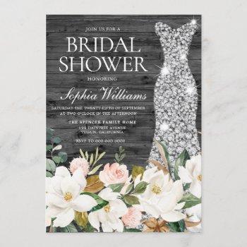 diamond dress blush white country bridal shower invitation