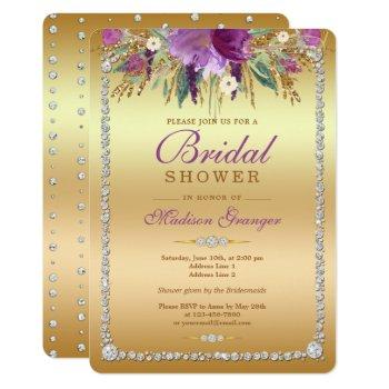 diamond glitter watercolor flowers bridal shower invitation