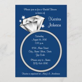 diamond ring bridal shower invitation royal blue