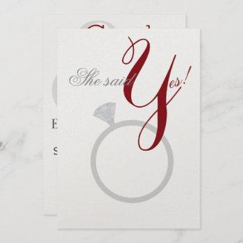 diamond ring she said yes silver & burgundy party invitation