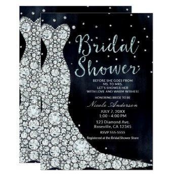 diamond wedding dress modern blue bridal shower invitation