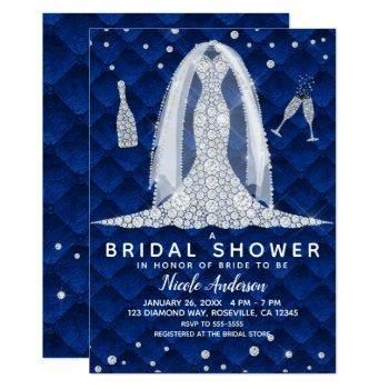 diamond wedding dress royal blue bridal shower invitation