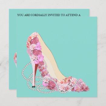 diamonds & flower bouquet heels shower party invitation