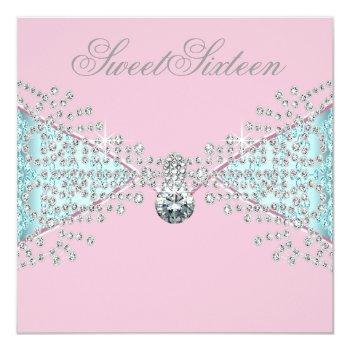 diamonds pink teal blue sweet sixteen birthday invitation
