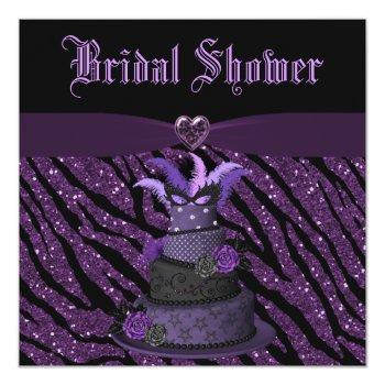 diva cake & printed zebra glitter bridal shower invitation