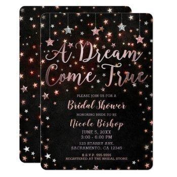dream come true black rose gold bridal shower invitation