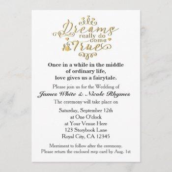 dreams really do come true wedding invitation