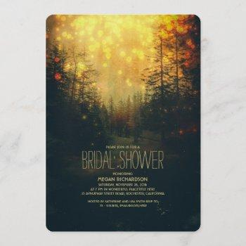dreamy forest string lights trees bridal shower invitation