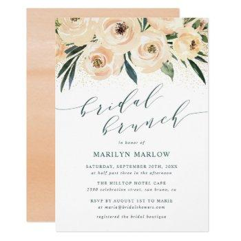 dreamy sea rose gold glitter bridal shower brunch invitation