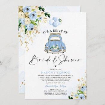 drive by bridal shower blue floral car drive by invitation