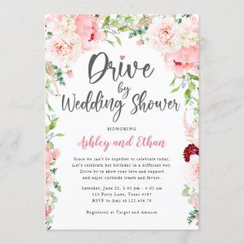 drive by bridal shower botanical wedding shower invitation