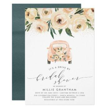 drive by bridal shower cream & blue floral invitation
