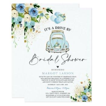 drive by bridal shower invitation blue floral