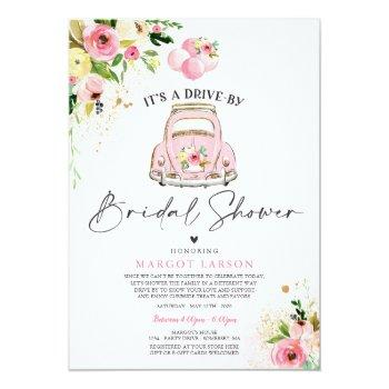 Small Drive By Bridal Shower Invitation Pink Floral Front View