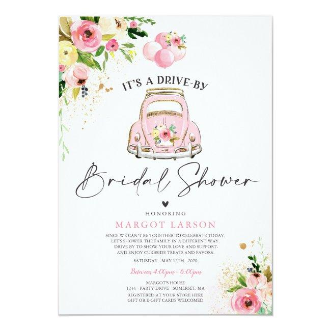 Drive By Bridal Shower Invitation Pink Floral