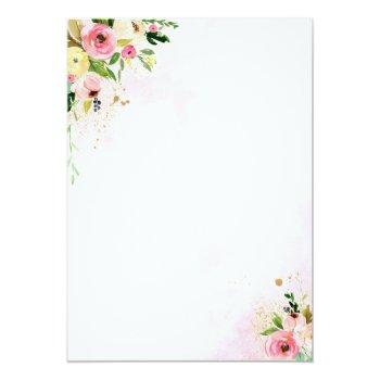 Small Drive By Bridal Shower Invitation Pink Floral Back View
