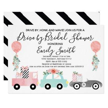 drive by bridal shower invitation pink quarantine