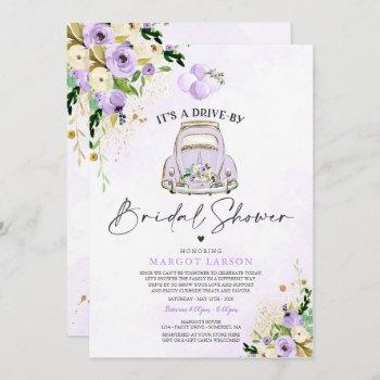 drive by bridal shower invitation purple floral
